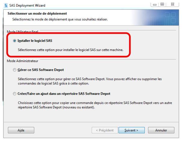 Installer le logiciel SAS
