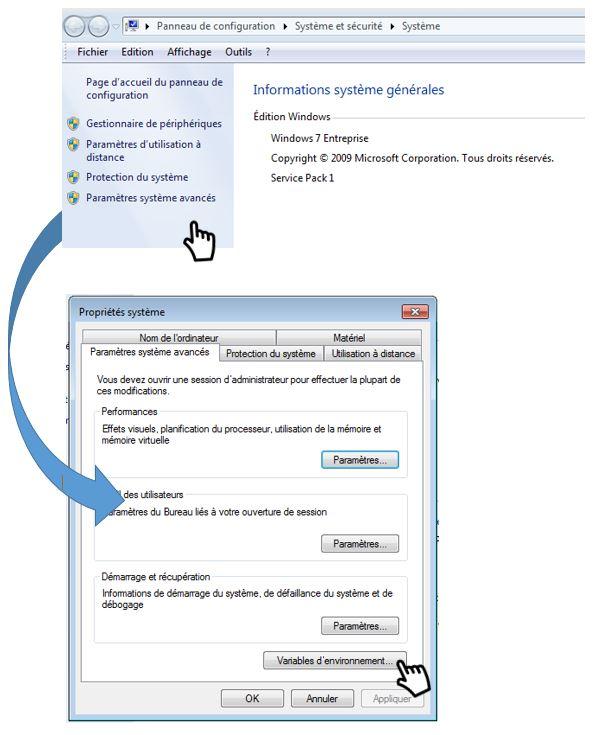 definit variable envrionnement dans windows